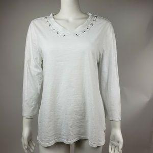 CHICOS White 3/4 Sleeve Top Size 1 (Medium)
